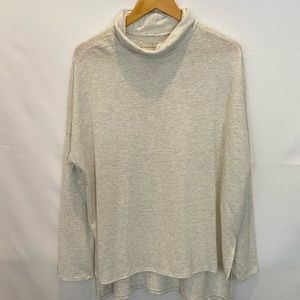Lucky Brand cowl neck sweater in soft heather tan